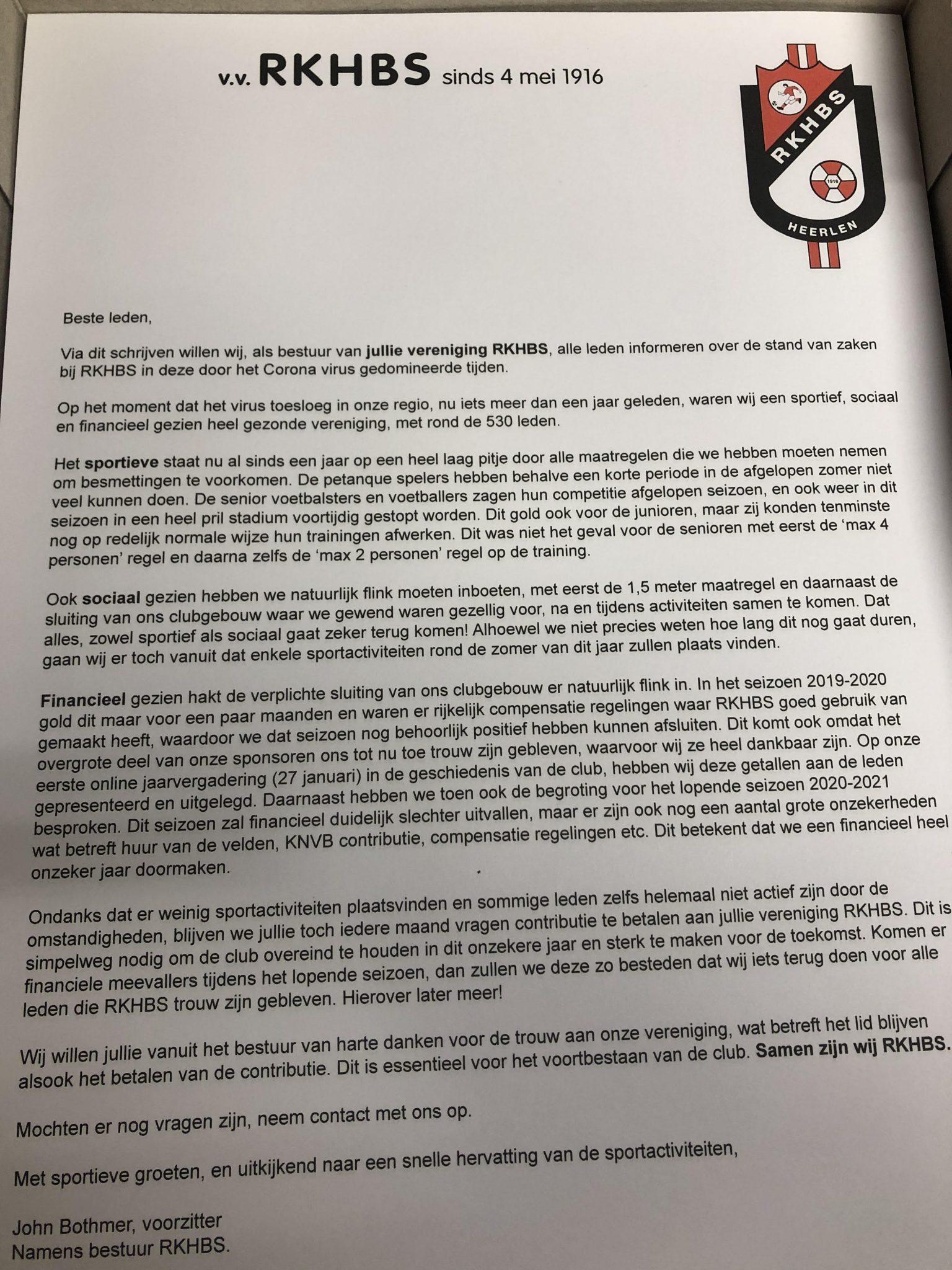 Nieuwsbrief voor de leden